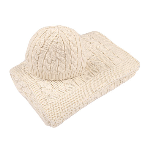 Cream Cable Baby Blanket & Hat Set cut out