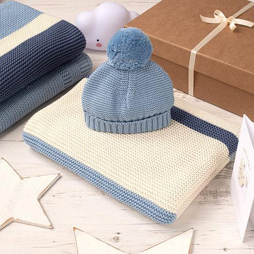 Blue Ribbon Stripe Baby Blanket & Hat Gift Set