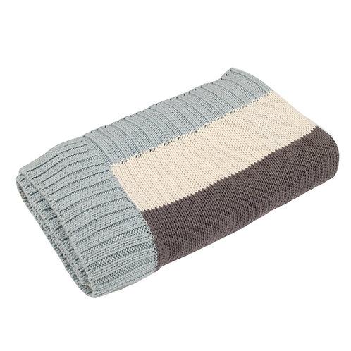 Aqua, Cream & Charcoal Stripe  Mono Baby Blanket