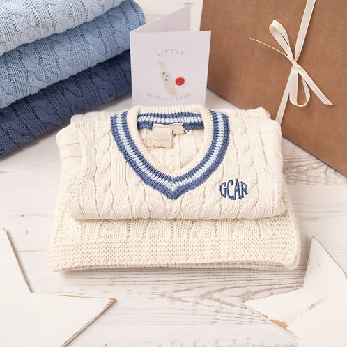 Personalised Cream Baby Cricket Jumper and Personalised Baby Blanket Gift Set