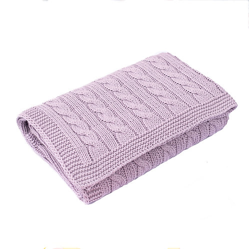 Purple Thistle Cable Baby Blanket