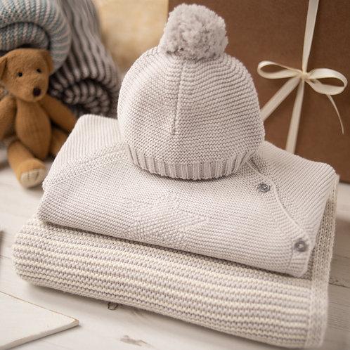 Hello Baby Cream & Grey Luxury Knitted Gift Box
