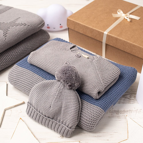 Maxi Stripe Baby Boy Blue and Grey Gift Set