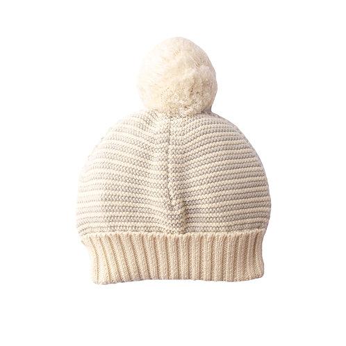 Glacier Grey & Cream Stripe Big Bobble Baby Hat