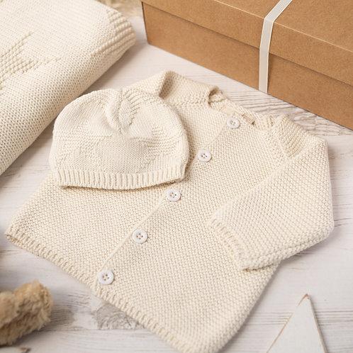 Cream Baby Cardigan & Star Hat Gift Set
