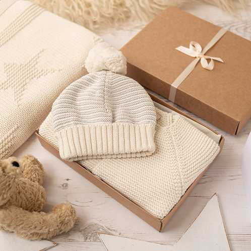 Cream Baby Cardigan & Stripy Bobble Hat Gift Set