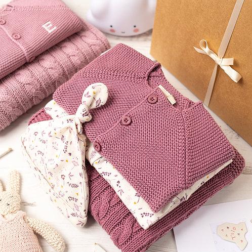 Dusky Rose Baby Girl Floral Sprig Gift Box