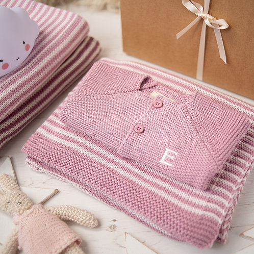 Dawn Pink and Petal Pink Dainty Stripe Blanket & Cardigan Gift Set