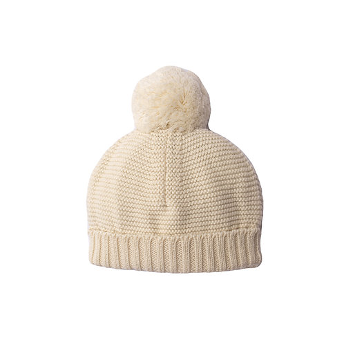 Cream Big Bobble Baby Hat