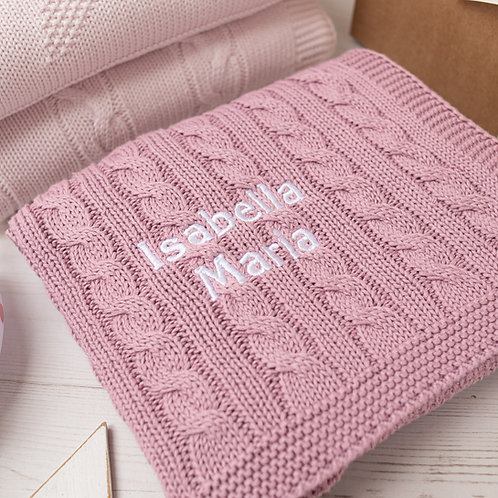 Dawn Pink Cable Baby Blanket