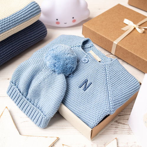 Blue Grey Baby Bubble Cardigan and Bobble Hat Gift Set