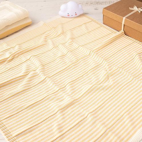 Custard Yellow & Cream Dainty Stripe Baby Blanket