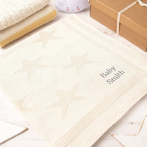 Cream Star Baby Blanket