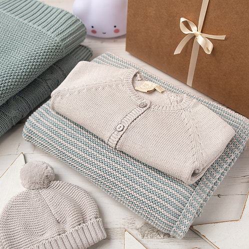 Mini Aqua and Grey Stripe Blanket & Cardigan Baby Girl Gift Set