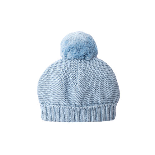 Blue Grey Big Bobble Baby Hat