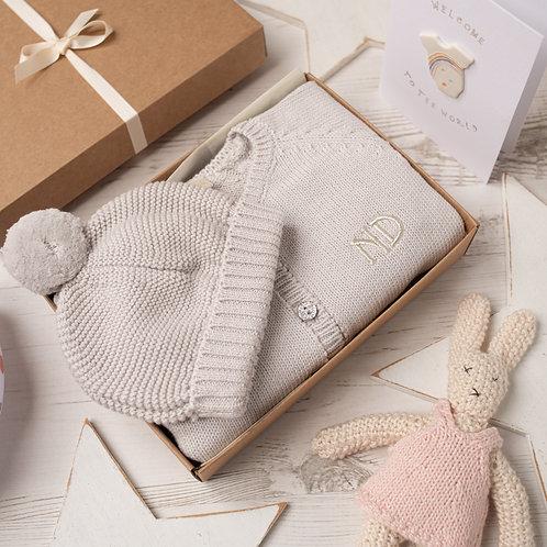 Grey Baby Sparkle Cardigan & Hat Gift Set