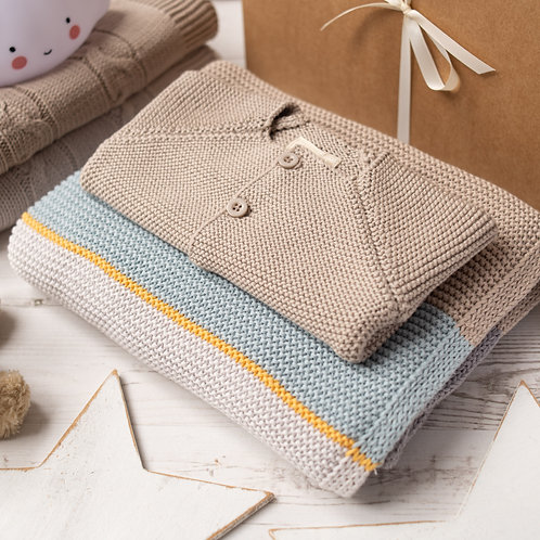Arty Cardigan & Blanket Knitted Gift Set