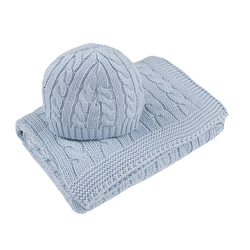 Blue Grey Cable Baby Blanket & Hat Set