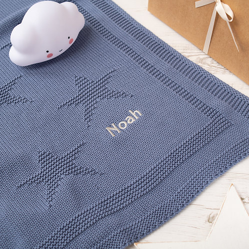 Storm Blue Little Star Personalised Baby Blanket