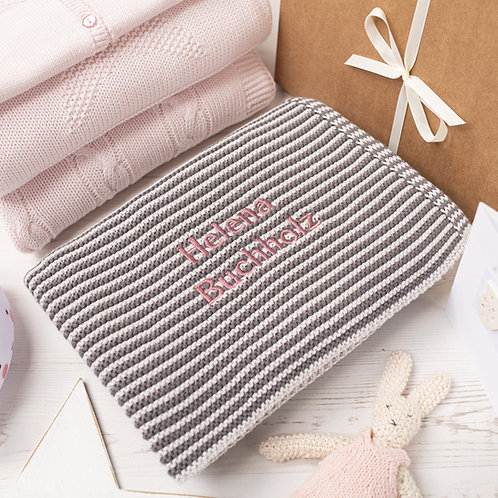 Charcoal and Arctic Grey  Mini Stripe Personalised Baby Blanket