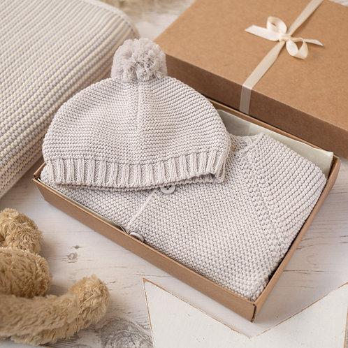 Arctic Grey Baby Bubble Cardigan & Bobble Hat Gift Set