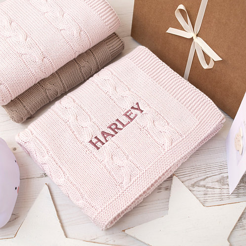 Toffee Moon Petal Pink Chunky Cable Personalised Baby Blanket with Dusky Rose Embroidered Name