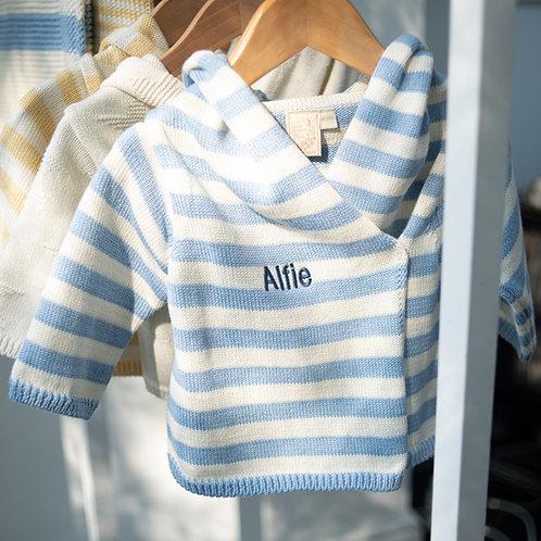 Blue Grey & Cream Striped Hooded Baby Cardigan