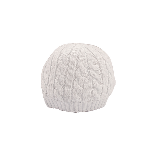 Toffee Moon White Cable Baby Hat cut out