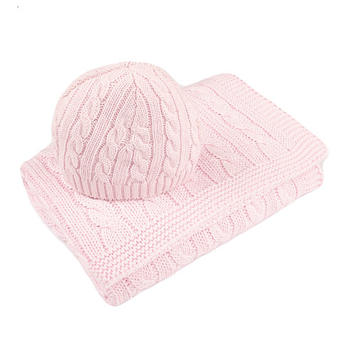 Cradle Pink Cable Baby Blanket & Hat Gift Set cut out