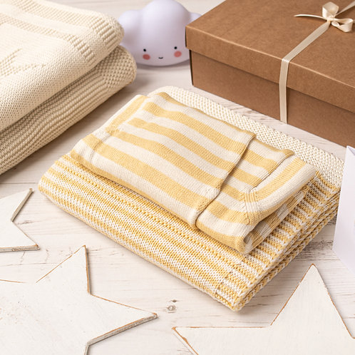 Custard and Cream Dainty Stripe Blanket & Hoodie Cardigan Gift Set