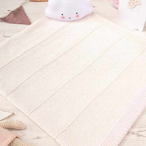 Toffee Moon Petal Pink and Cream Dainty Stripe Personalised Baby Blanket