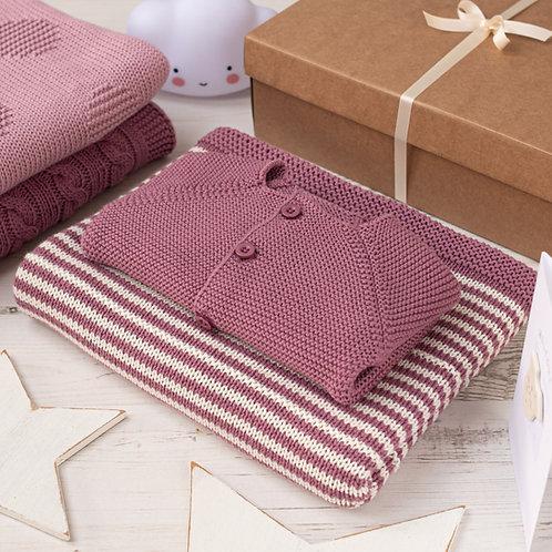 Dusky Rose and Cream Dainty Stripe Blanket & Cardigan Gift Set