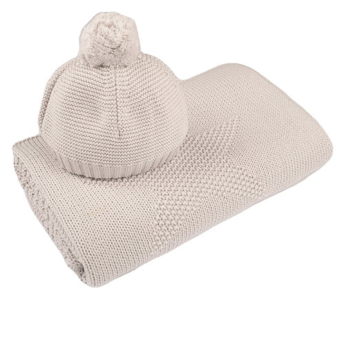Arctic Grey Big Star Baby Blanket & Hat Set cut out