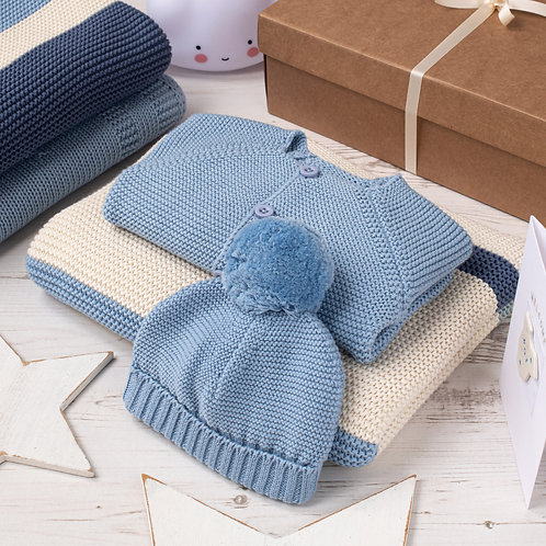 Blue Ribbon Stripe Baby Boy Blue Grey Gift Set