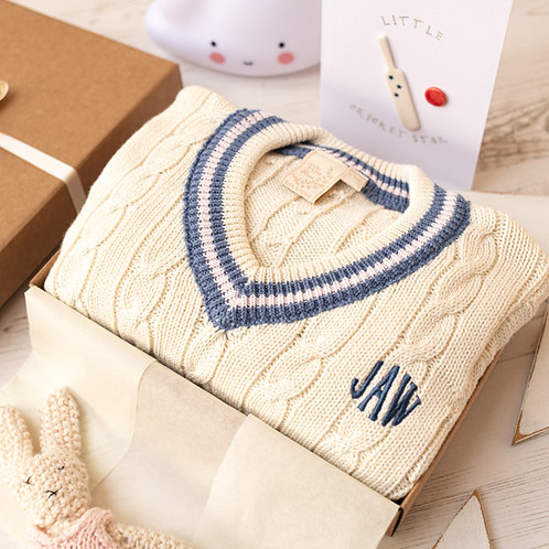 Cream Baby Cricket Jumper with Pink & Blue Stripes