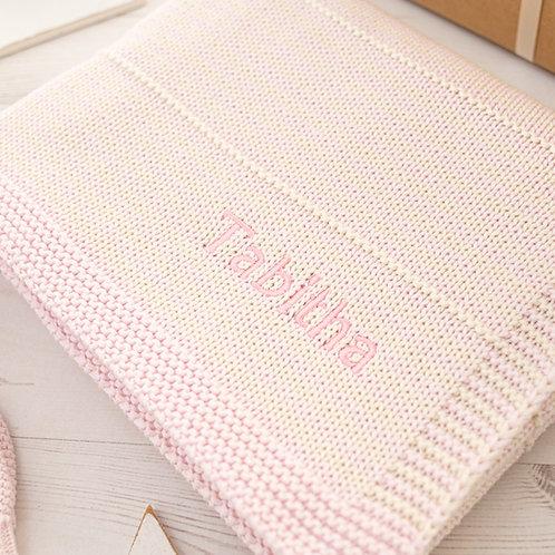 Petal Pink and Cream Dainty Stripe Personalised Baby Blanket
