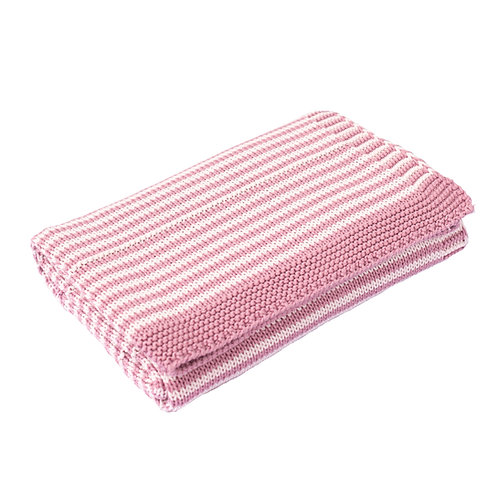 Dawn Pink & Petal Pink Dainty Stripe Baby Blanket