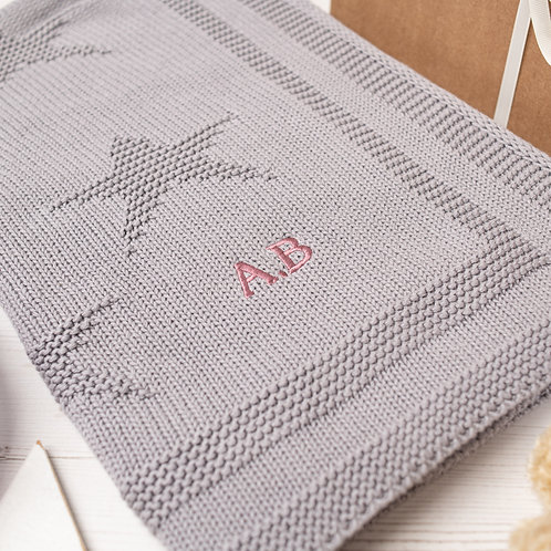Toffee Moon Hound Grey Little Star Personalised Baby Blanket with Dusky Rose Embroidered Initials