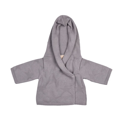 Toffee Moon Hound Grey Star Hooded Baby Cardigan