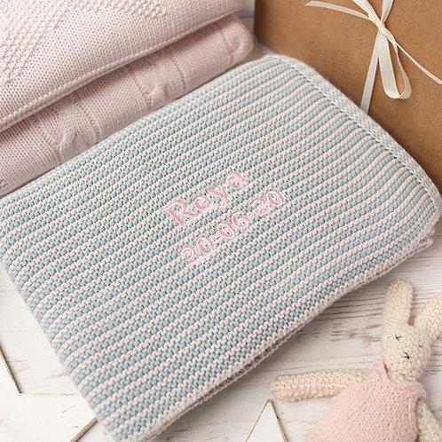 Aqua & Arctic Grey Mini Stripe  Baby Blanket
