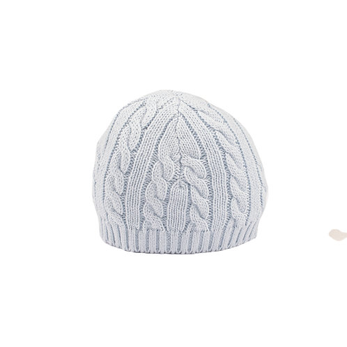 Toffee Moon Pale Blue Cable Baby Hat cut out