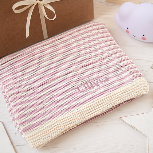Dawn Pink and Cream Dainty Stripe Personalised Baby Blanket
