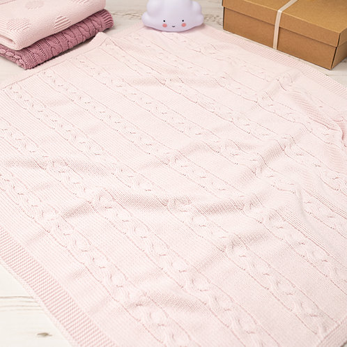 Petal Pink Chunky Cable Baby Blanket