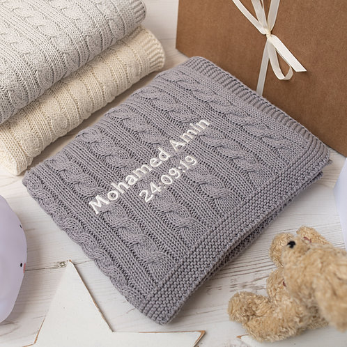 Toffee Moon Hound Grey Cable Personalised Baby Blanket with Cream Embroidered Name