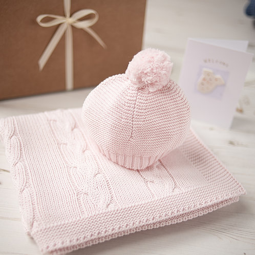 Petal Pink Chunky Cable Baby Blanket & Hat Set
