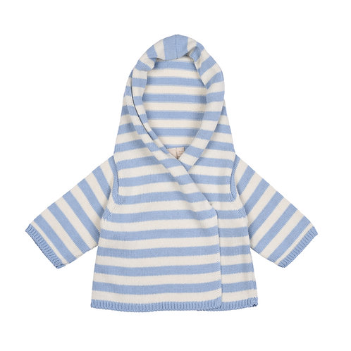 Blue Grey & Cream Striped Hooded Baby Cardigan cut out