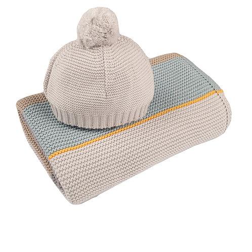 Arty Colour Block Baby Blanket & Hat Set cut out