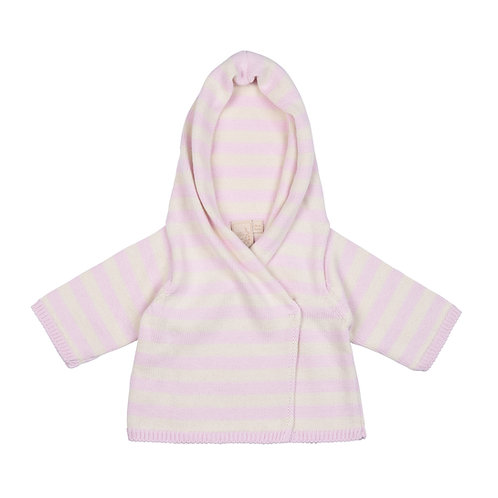 Cradle Pink & Cream Striped Hooded Baby Cardigan cut out