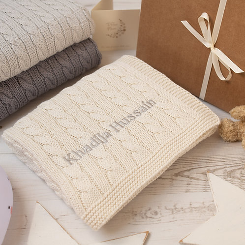 Cream Cable Baby Blanket