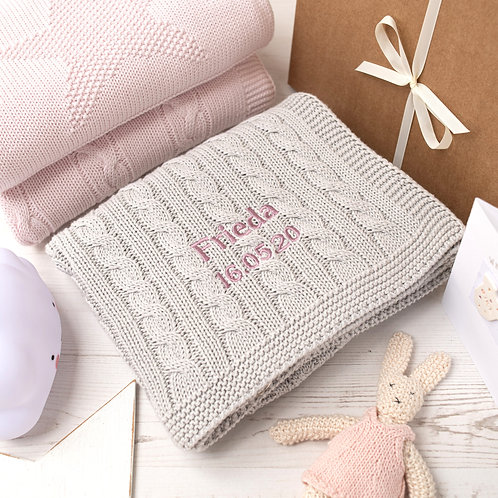 Toffee Moon Arctic Grey Cable Personalised Baby Blanket with Dawn Pink Embroidered Name